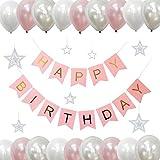 誕生日 風船 ハッピーバースデー バルーン デコレーション セット ピンク 飾り付け スター ガーランド おしゃれ