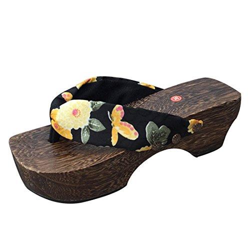 [Jiyaru]和柄下駄サンダル 女性 鼻緒 ウェッジソール花柄下駄 浴衣花見夏祭り ビーチ 下駄サンダル ブラック 23.5cm