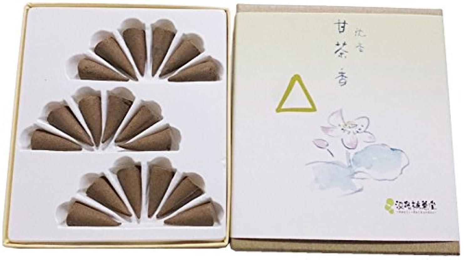 キャップ便利お祝い淡路梅薫堂のお香 沈香甘茶香 コーン型 18個入 #6 agerwood incense cones 日本製