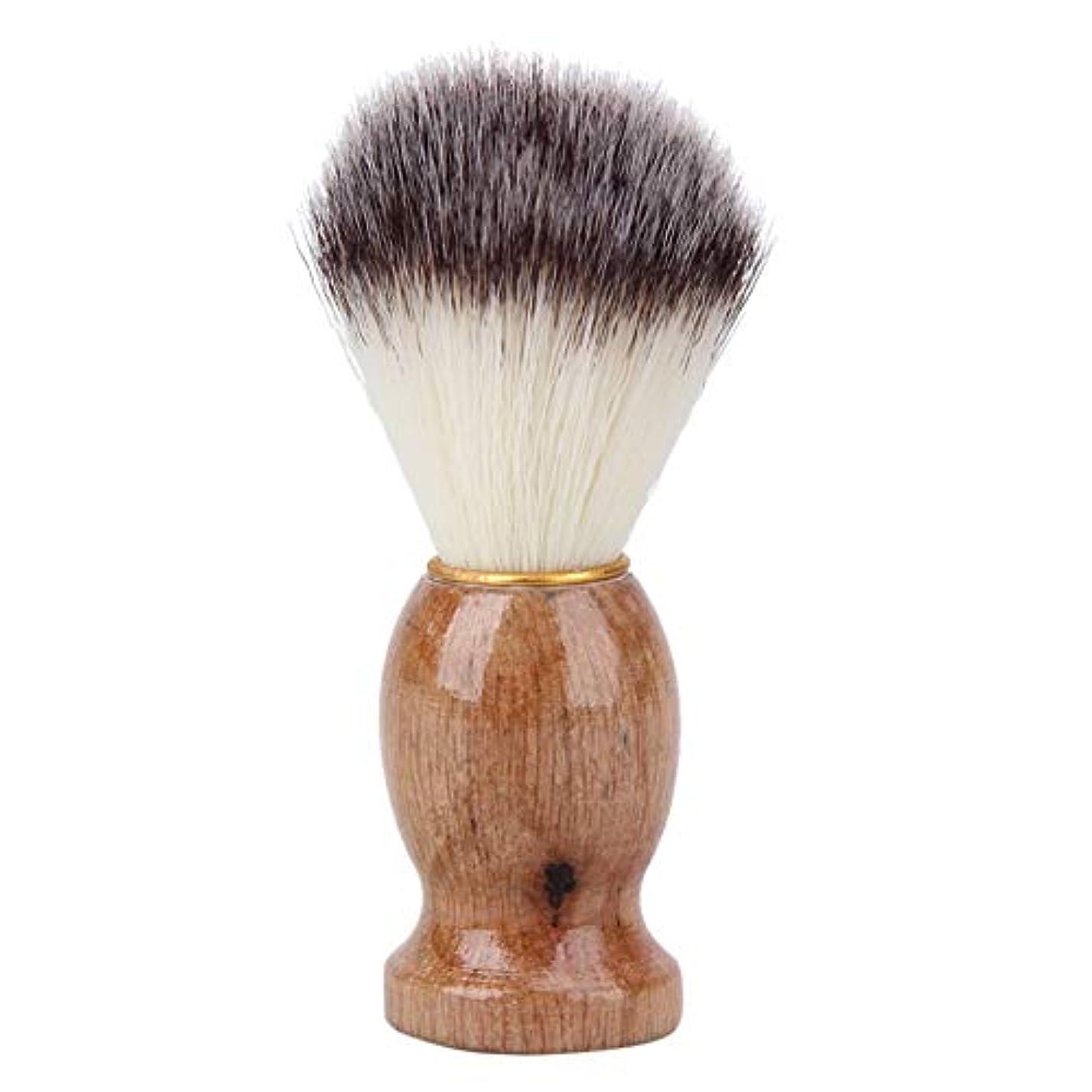 WTYD 美容ヘアツール ウッドハンドルヘアシェービングブラシ洗顔ブラシひげ剃りサロンアナグマヘアツールかみそりブラシ