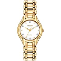 Citizen Ladies Solar Powered Gold Tone Steel Diamond Watch EM0282-56A
