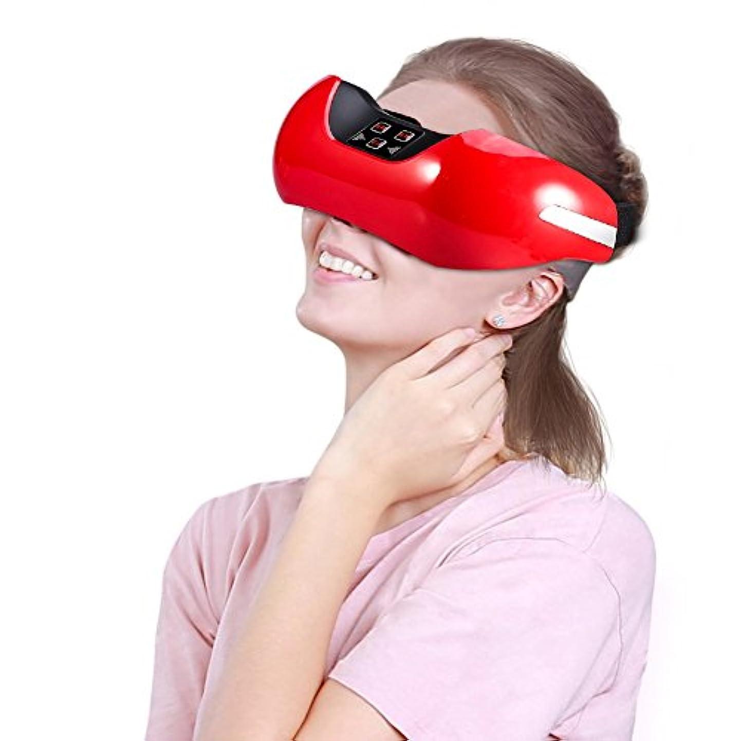 リズミカルなキャンベラループUSB充電式3D電動グリーンライトアイマッサージャー(赤)
