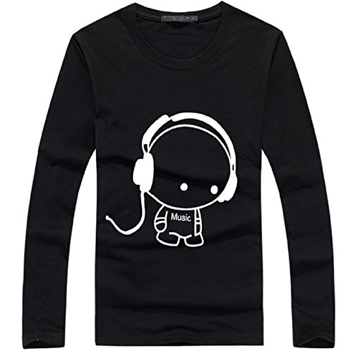 BUZZxSELECTION(バズ セレクション) 長袖 キャラクター Tシャツ カジュアル ロンT オシャレ キャラT メンズ レディース かわいい ストリート TSL005 (ブラック,XL)