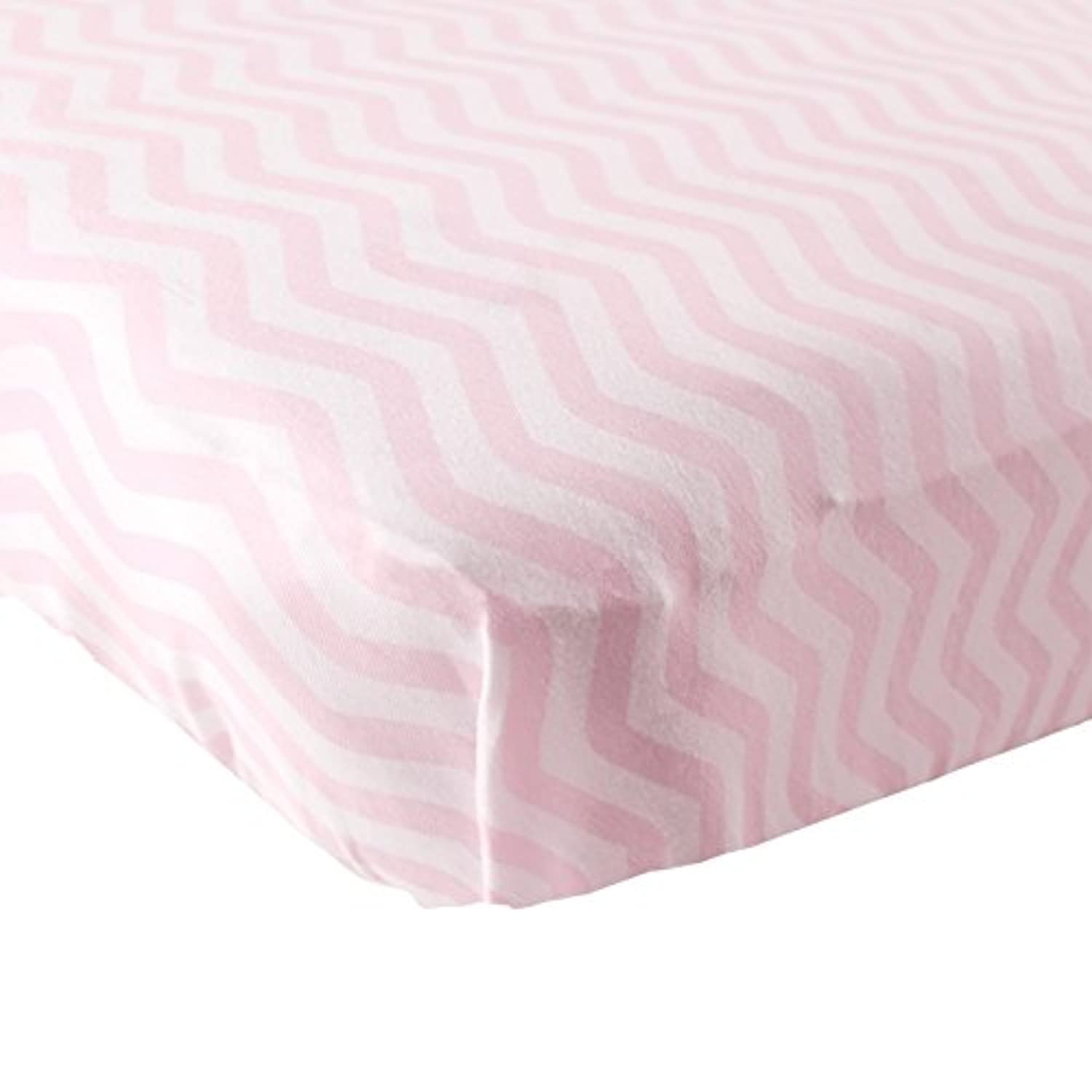 Luvable Friends Fitted Knit Cotton Crib Sheet, Pink Chevron, One Size by Luvable Friends