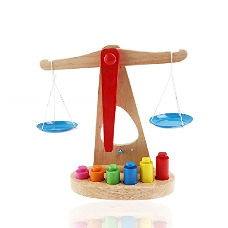Rosenice木製バランススケール、6ピースの木製ウェイトブロック子供教育玩具