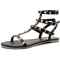 SANDLUP Sparkly Women's Rivet Ankle Straps Flat Sandals