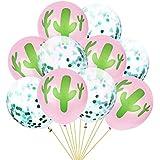 Amosfun 10個 10/12インチ キラキラ 風船 ラテックス 紙吹雪サボテンバルーン ハワイテーマ パーティー 結婚式 誕生日の装飾 部屋 飾り付け