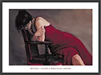 ポスター オースティン 赤のドレス 額装品 ウッドベーシックフレーム(ブラック)