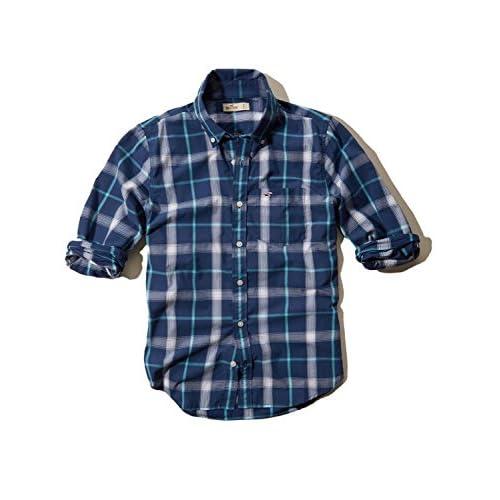 (ホリスター) Hollister Co. メンズ 長袖シャツ シャツ ワイシャツ カジュアルシャツ [ネイビーxブルーxホワイト/チェック] 並行輸入品 Mサイズ