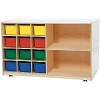 Wood Designs Kids Play Toy Book合板オーガナイザーwd1650312 AssortedトレイPlus棚ストレージ