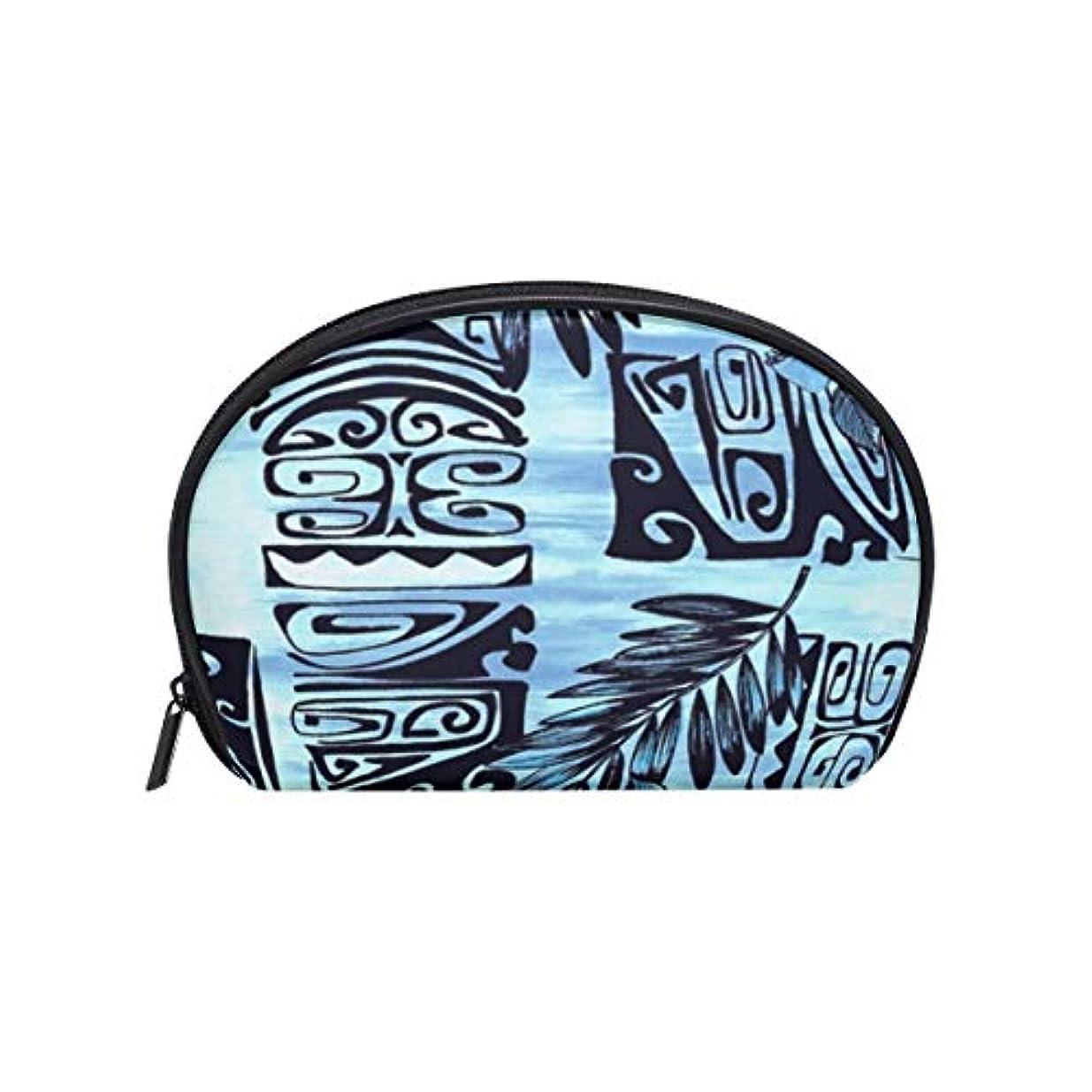検体対応従来の半月形 化粧ポーチ ハワイアンハイビスカスブルーフローラル 化粧品 大容量収納 メイクポーチ ポーチ 旅行 出張 仕事 [並行輸入品]