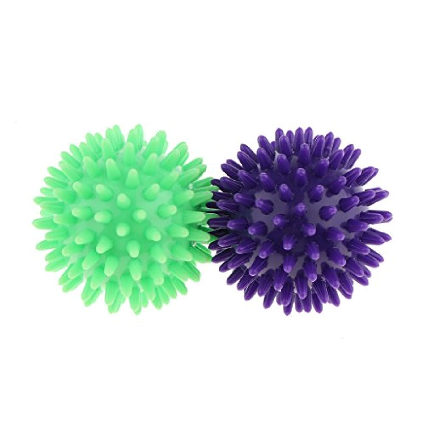 スクラップブック増強する引退したKesoto マッサージボール スパイシー マッサージ ボール ボディトリガー ポイント 2個セット 3タイプ選べ - 紫ライトグリーン