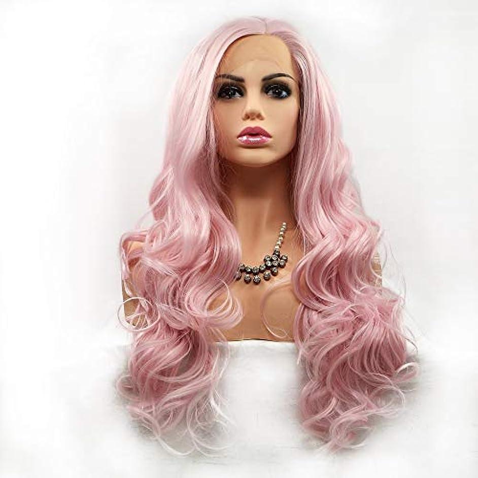 使用法コンドームおもちゃヘアピース ピンクのロングヘアカーリーヘアウィッグレディースハンドメイドレースヨーロッパとアメリカの自然なかつらセット