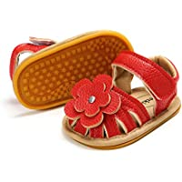 Meckior Baby Girls Premium Soft Rubber Sole Anti-Slip Summer Shoes Infant Baby Prewalker Toddler Sandals. (13cm(12-18months), A/red)