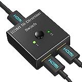 HDMI切替器 スプリッター 双方向セレクター 4K/3D/1080p対応 1入力2出力/2入力1出力 手動切り替え 電源不要 メーカー保証付き