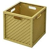 [山善] 収納ボックス (コンテナ) 正方形(幅36.5×奥行36.5×高さ37cm) スタッキングシェルフ 積み重ねできる タテでもヨコでも使える お客様組立品(組立かんたん) マスタード YHCB-3636(MT)