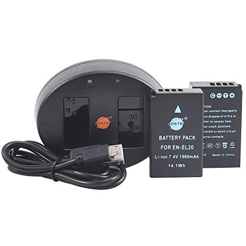 DSTE EN-EL20 バッテリー 2個 + 互換急速 デュアルUSB充電器 (2個同時充電可能) Nikon Coolpix A 1 J1 J2 J3 AW1 S1 V3 など対応