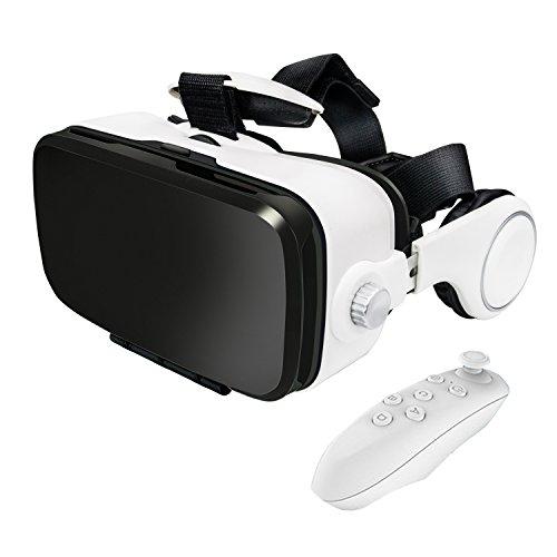 Anskp vrゴーグル iphone5/6/7 plus 4.7-6インチのスマホ対応 3d vr ゴーグル レンズ距 離を調整可能 イヤホン実装・音量調整・動画一時停止 Bluetoothリモコン付き (ホワイト)