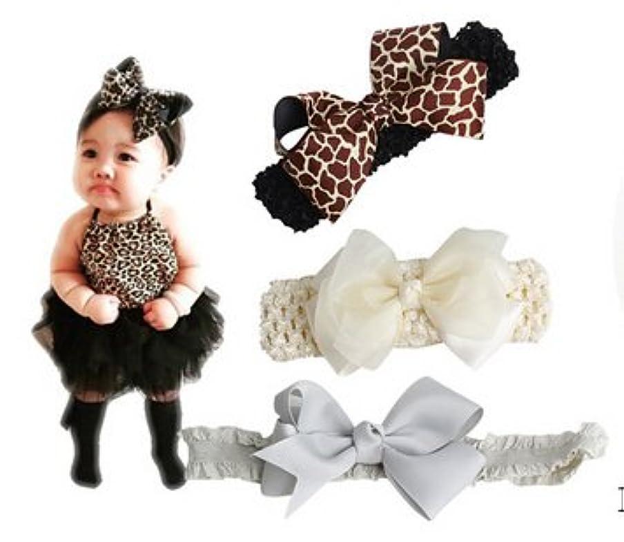 パブ逃すサンプルベビー 用 ヘアバンド 3点セット 伸縮性 赤ちゃん はなリボン 髪飾り 出産祝い 内祝い 誕生日 記念撮影 カラー (3#)