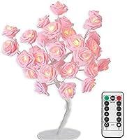 USB電源 + リモートピンクローズフラワーシェイプデスクランプ 24時間温白色LED調光機能付きツリー型ランプ タイマー付き 8つの照明モード 寝室 リビングルーム 室内装飾 ウェディング バレンタイン