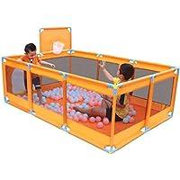 バスケットボールのフープ/ボール付大型ベビープレイペンFoldable Kids Play Pens 10パネル子供用アクティビティセンタールームフィットフロアマット (色 : Orange)