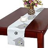 GGSXD テーブルランナー すばしこい グリーン猫 クロス 食卓カバー 麻綿製 欧米 おしゃれ 16 Inch X 72 Inch (40cm X 182cm) キッチン ダイニング ホーム デコレーション モダン リビング 洗える