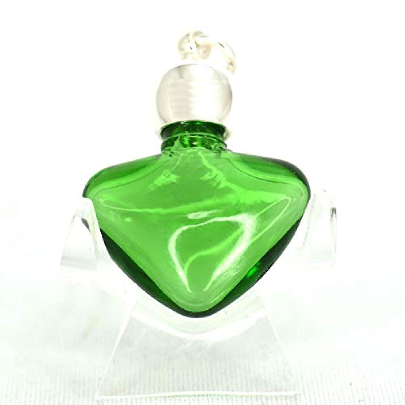 揮発性啓示センサーミニ香水瓶 アロマペンダントトップ ハートグリーン(透明緑)0.8ml?シルバー?穴あきキャップ、パッキン付属【アロマオイル?メモリーオイル入れにオススメ】