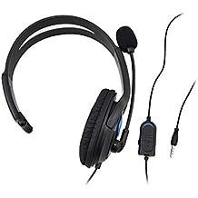 イヤホン PS4ゲーム機用 マイク付き ブラック片耳ヘッドホン有線