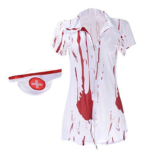 Fenteer ハロウィーン コスプレ 仮装 恐ろしい ゾンビ血 看護婦の衣装 ドレスパーティー テーマパーティー