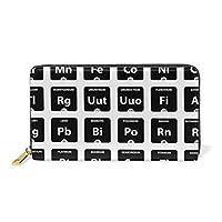 LALATOP レディース 元素の周期表 本革 ジッパー財布 クラッチ コイン電話 Sサイズ マルチカラー