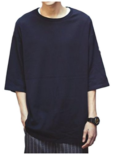 [ワン アンブ] ゆったり Tシャツ クルーネック 丸首 カジュアル インナー ストレッチ 生地 M 〜 2XL メンズ