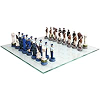 US Air Force vs Marines Military Chess Set Hand Painted with Glass Board