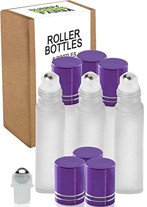 治世ミトン虚偽Rioa 10ml(1/3oz) Cobalt Blue Glass Roller Bottles With Stainless Steel Roller Ball for Essential Oil - Include...