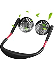 携帯用ハンドフリーファン、パーソナルUSBネックファン360°回転3スピード調整可能、ヘッドバンドウェアラブルファン(ダブルファン付き)オフィス旅行用アウトドアキャンプ