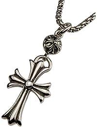 [D.E.E.D] ステンレス シルバーアクセサリー メンズ ネックレス クロス 十字架 ワンボールクロス 316L