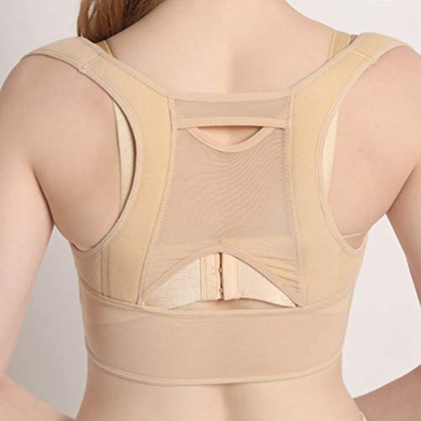対立キャップ離れた通気性のある女性の背中の姿勢矯正コルセット整形外科の肩の背骨の姿勢矯正腰椎サポート - ベージュホワイトM