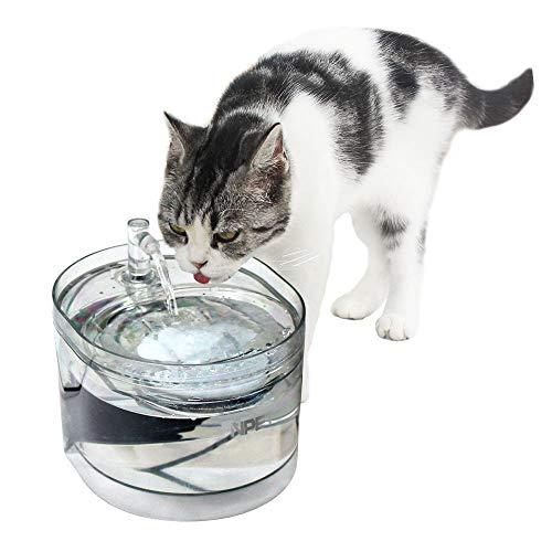 NPET ペット自動給水器 WF030 猫/中小犬用 活性炭フィルター循環式 1.6L 全透明