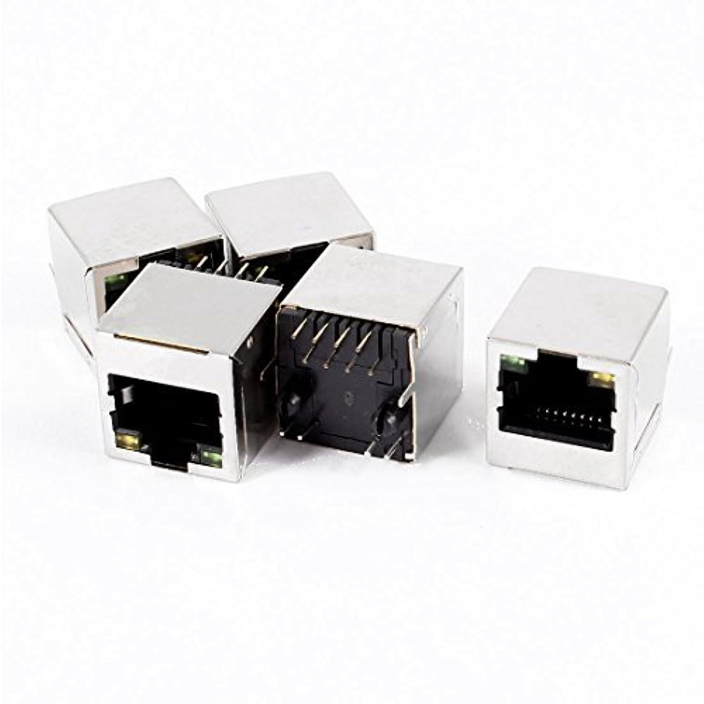 ナチュラルレンチ懐疑論5つのLEDライトステンレス鋼シールドRJ45 8P8C PCBジャックコネクタ