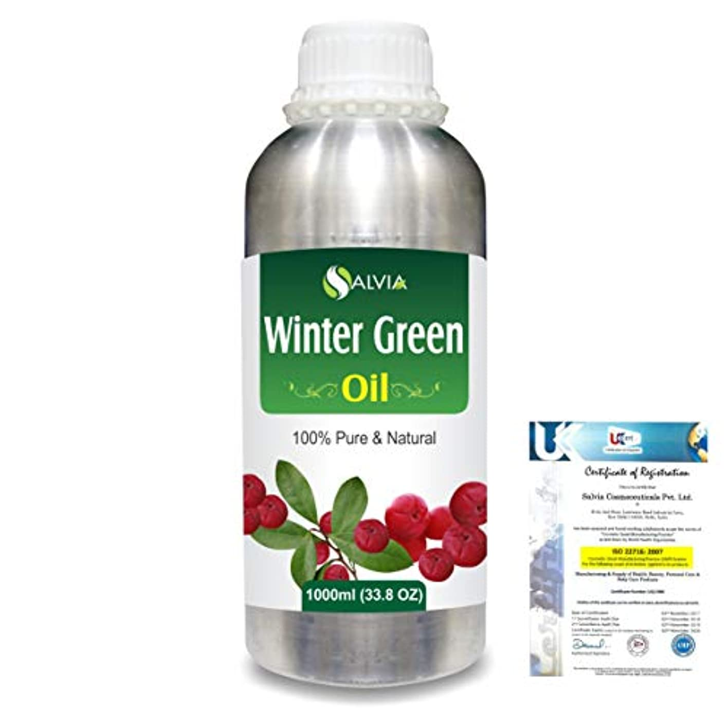 電気技師恥ずかしさ証明Winter Green(Gaultheria Procumbens) 100% Natural Pure Essential Oil 1000ml/33.8fl.oz.