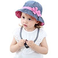 HUIXIANG Toddler Kids Baby Girl Breathable Sun Hat Cotton Foldable 50+ SPF Protective
