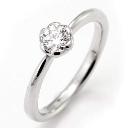 SUEHIRO ダイヤモンド リング 0.3カラット プラチナ ダイヤモンドリング 指輪 花びら 婚約指輪 エンゲージリング サイズ6
