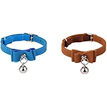 HOMYL 2pcs Adjustable Safety Cat Collar Neck Buckle Strap with Bell for Puppy Cat Collars, Harnesses Leashes Collars Basic Collars