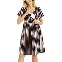 GINKANA Women's Short Sleeves Stripe Maternity Dress Nursing Breastfeeding Dresses