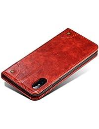 iPhone X 全面保護ケース、SIMPLE DO 良質レザー おしゃれデザイン カード収納 傷つけ防止 業務用 iPhone X専用ケース(レッド)