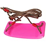 Flameer Heavy Duty Hard Plastic Swing Seat with Rope Set for Kids Outdoor Play Pink