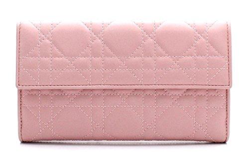 [クリスチャン ディオール] Christian Dior レディディオール カナージュ 長財布 レザー ロゴ チャーム ピンク