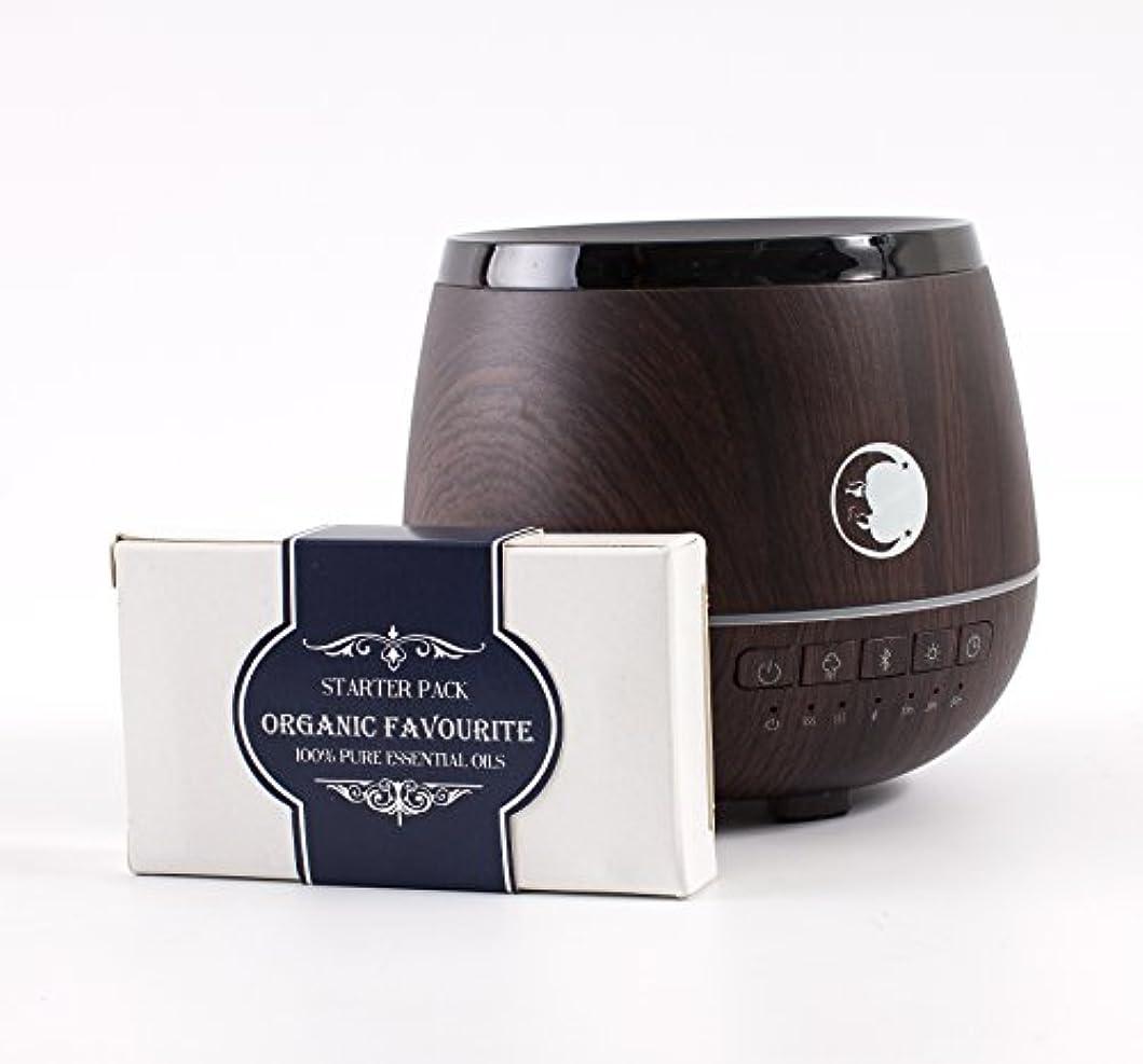 ランチョン前者先行するMystic Moments | Wood Effect Aromatherapy Oil Ultrasonic Diffuser With Bluetooth Speaker & LED Lights + Organic Favourite Essential Oil Gift Starter Pack