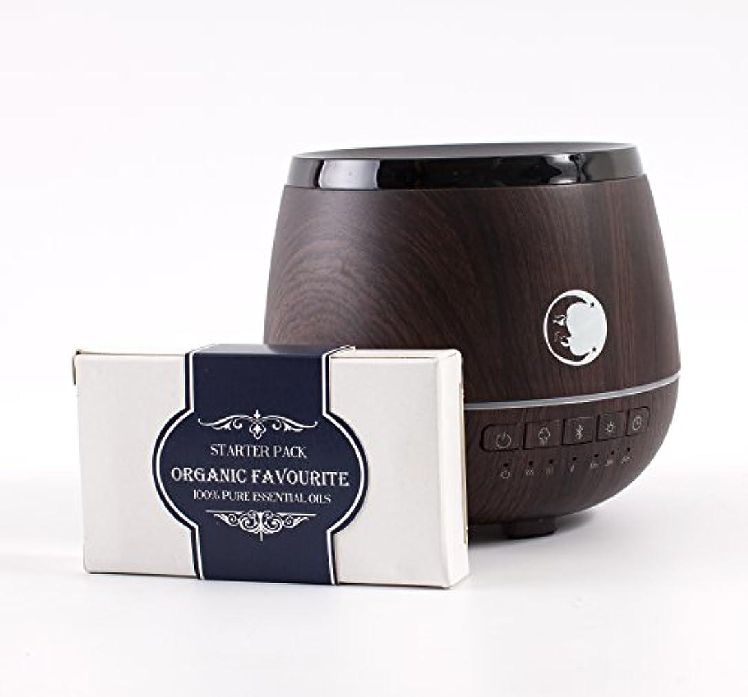 縫う漫画独裁者Mystic Moments | Wood Effect Aromatherapy Oil Ultrasonic Diffuser With Bluetooth Speaker & LED Lights + Organic Favourite Essential Oil Gift Starter Pack