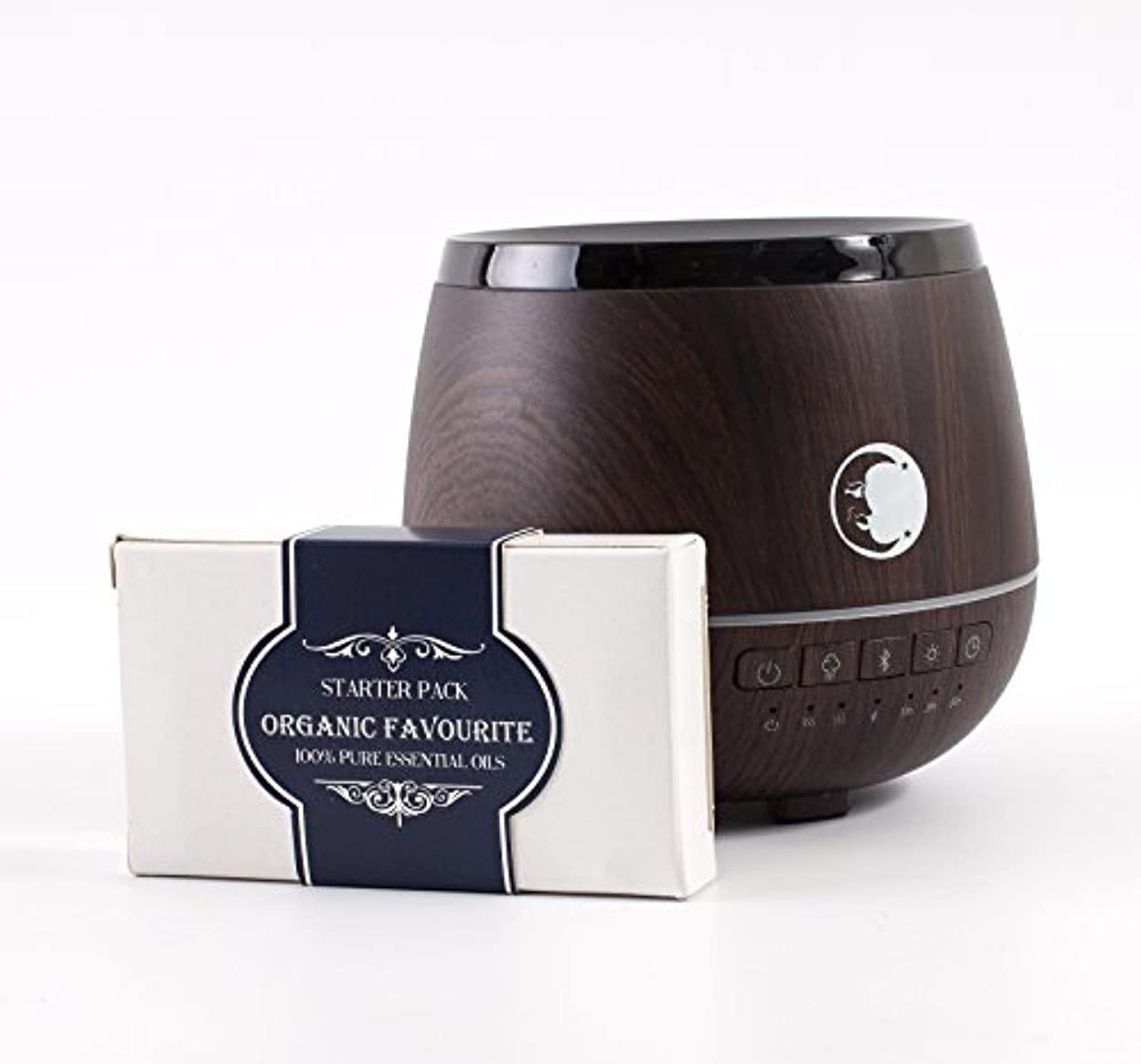 スリチンモイ部族わかるMystic Moments | Wood Effect Aromatherapy Oil Ultrasonic Diffuser With Bluetooth Speaker & LED Lights + Organic...