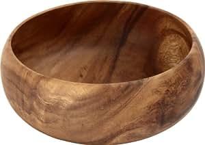 不二貿易 アカシア ラウンドボウル XL 幅20×奥行20cm ブラウン 30144